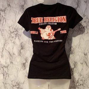 True Religion V Neck Logo Spell Out Top Black